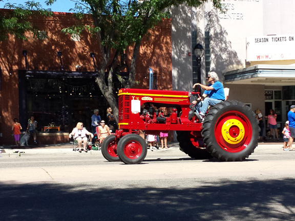 An red Gibson tractor