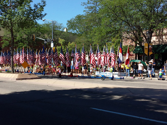 Back end of the parade of flags
