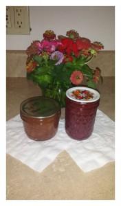 Peach jam, and strawberry jam