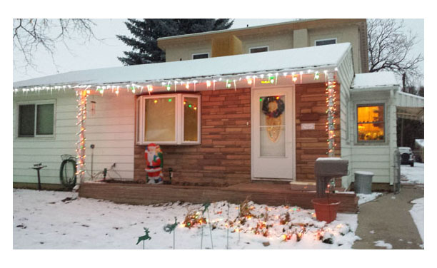 Our House decorated for the holidays