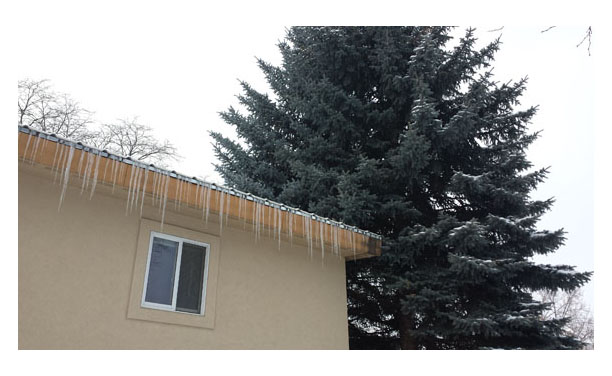 Icicles on the house roof