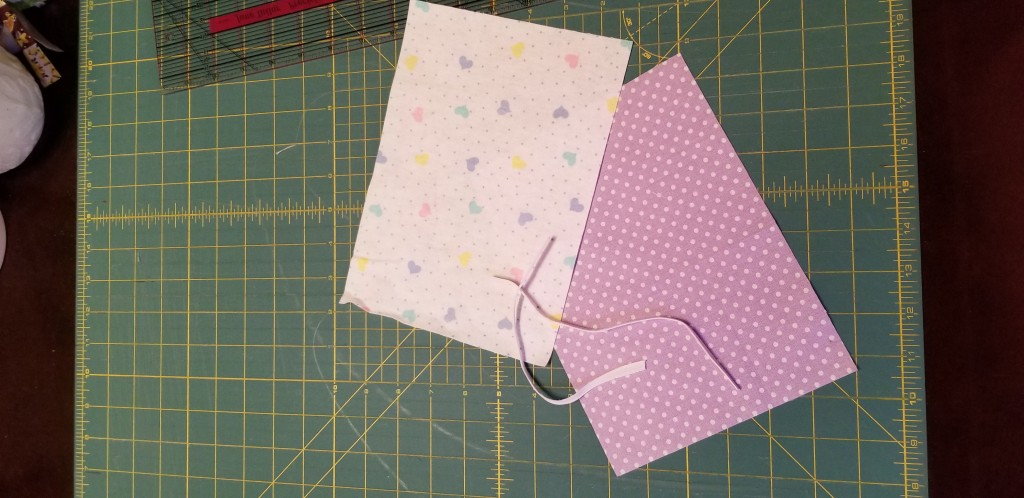 fabric squares and elastic in the size you need for your mask
